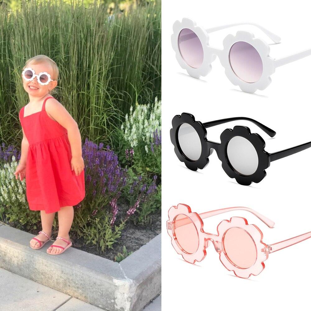 1pc niños Vintage Gafas De Sol niños Gafas De Sol redondo flor Gafas De los niños del bebé UV400 deporte Gafas De Sol niñas niños Gafas De Sol