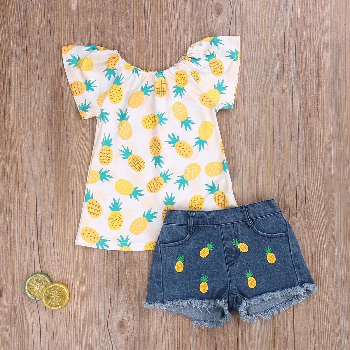 2021 verão meninas conjunto de roupas abacaxi crianças da moda criança sem mangas topo + demin shorts 18m a 8 anos