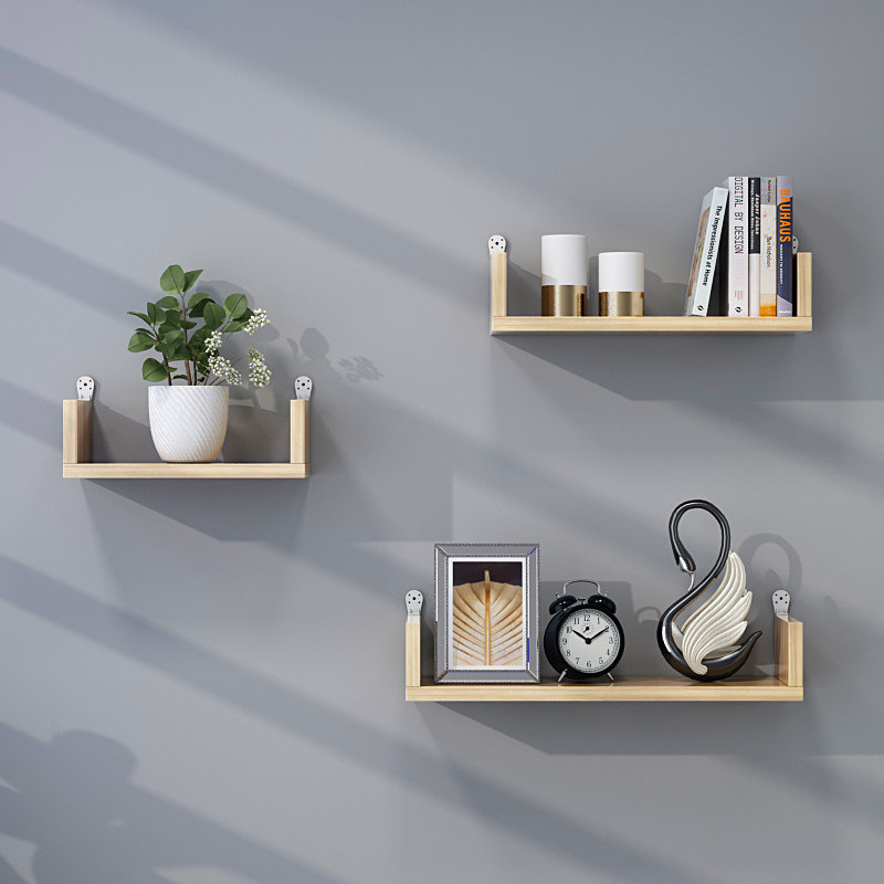 Punch-free Wooden  Wall Shelf Wall Mounted Storage Rack Organization For Kitchen Bedroom Home Decor Kid Room DIY Wall Storage