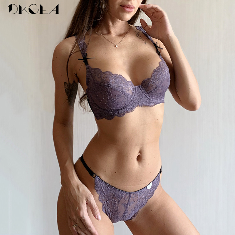New Brand Purple Lingerie Sexy Bra Set Plus Size C D Cup White Lace Underwear Set Transparent Bras Embroidery Women Brassiere