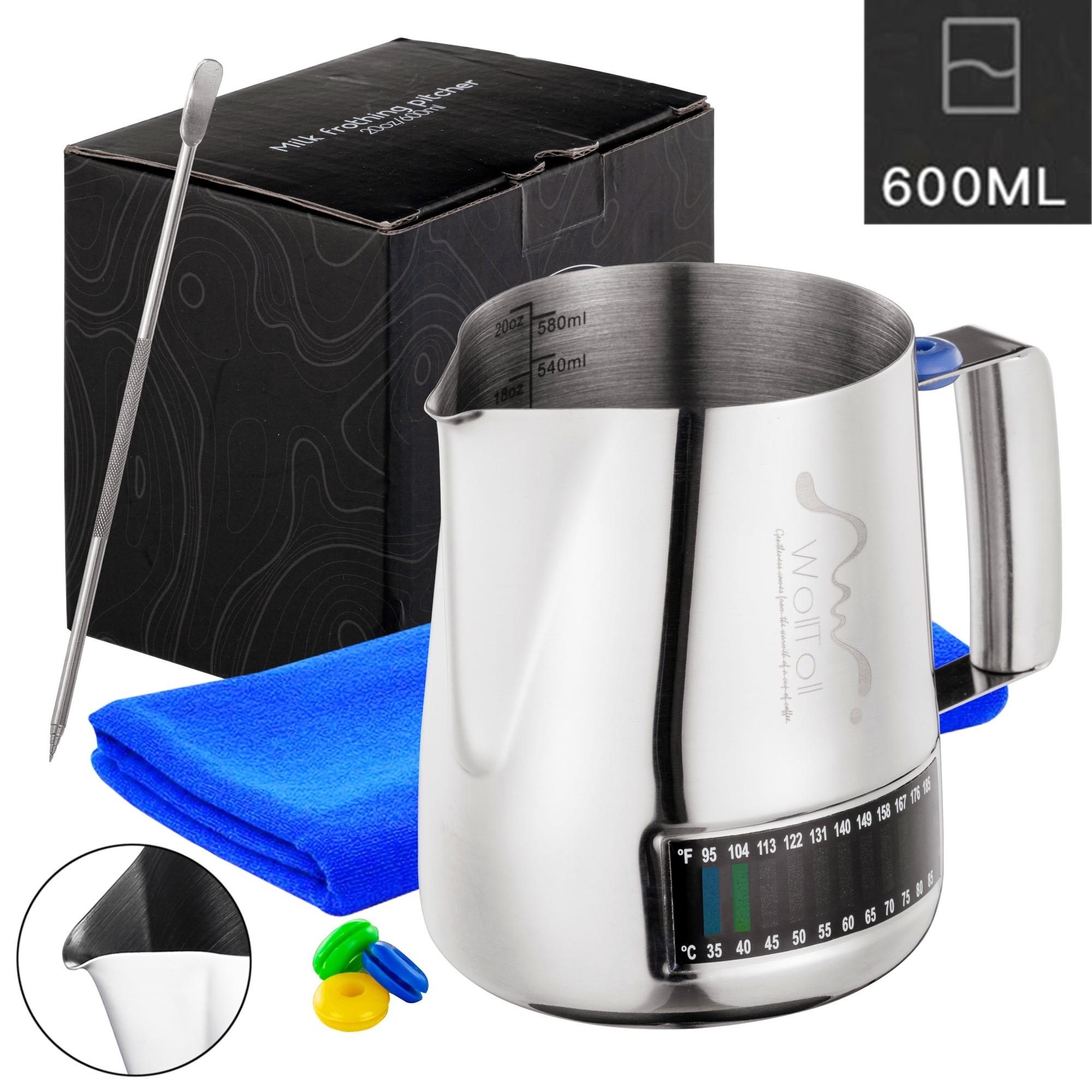 Milk Frothing Pitcher, Stainless Steel Creamer Frothing Pitcher With Integrated Thermometer 20 Oz (600 Ml), Brushed Finish