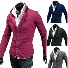 ZOGAA Solid Blazer Men Casual Blazers Slim Fit Stand Collar Men Blazers Suit Multi-pocket Single Breasted Suit Jackets and Coats slim fit lapel collar seam pocket spliced blazer