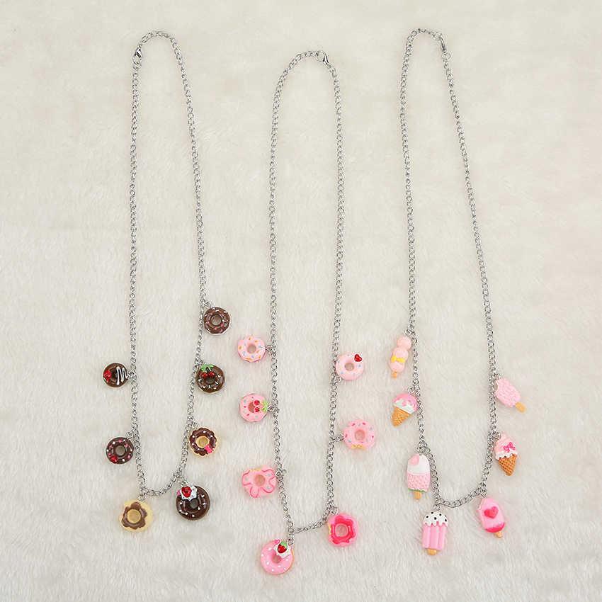 1pc かわいい樹脂ドーナツ模造デザート食品ネックレスとブレスレット子供の誕生日ギフト女性ジュエリー