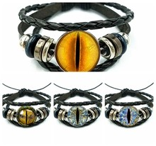 Evil Cat Eyes Glass Cabochon Leather Bracelets Multi Layers Weave Handmade Punk Black Men Bracelets(China)
