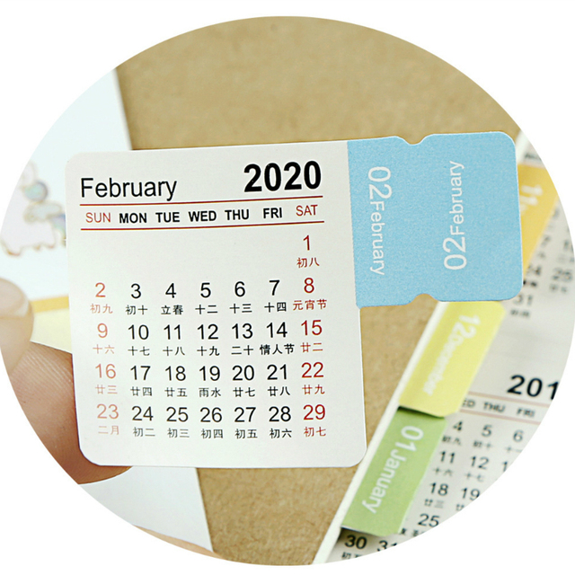 New 2020 Calendar Stickers Notebook Planner Decorative Sticker Mini Calendar Label Index Bookmark Kawaii Stationery 2 Pcs/pack 5
