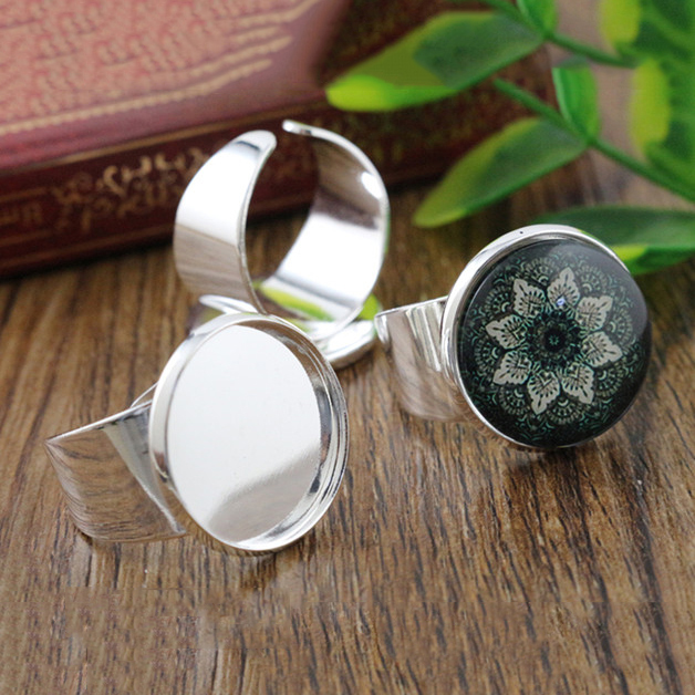 18mm 6pcs Bright Silver Plated Brass Adjustable Ring Settings Blank/Base,Fit 18mm Glass Cabochons,Buttons;Ring Bezels -K6-32