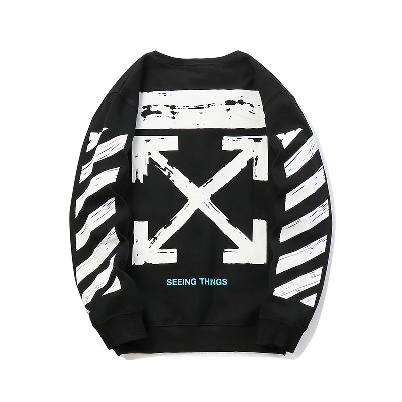 Autumn And Winter New Style Off Ow 18fw Round Neck Sweater Base Arrowhead Printed Men And Women Celebrity Style Couples