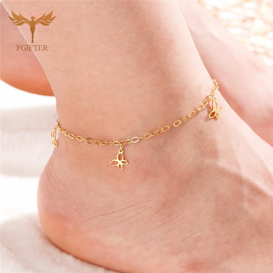 2020 Hot Sale Summer Women's Girl Anklet Bracelet Fashion Golden Butterfly Anklet Stainless Steel Jewelry Anklet