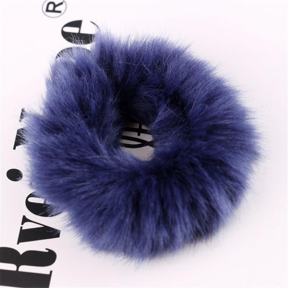 Мягкая Плюшевая повязка для волос резинки для волос натуральный мех кроличья шерсть мягкие эластичные резинки для волос для девочек однотонный цветной хвост резинки для волос для женщин - Цвет: 33
