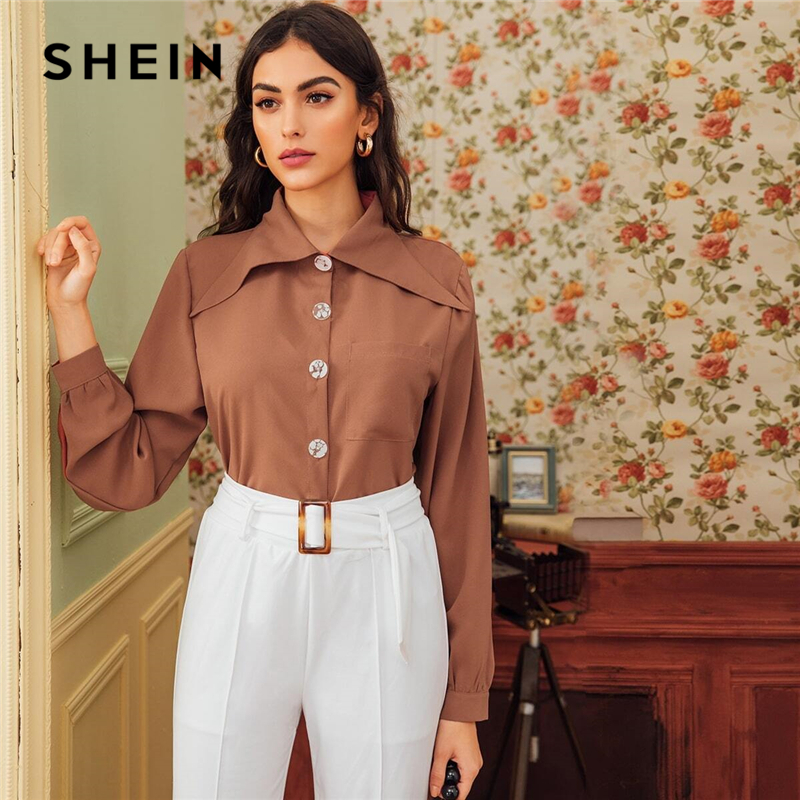SHEIN Brown Solid Button Front Patched Pocket Blouse Shirt Women Tops 2019 Autumn Long Sleeve Basic Blouses For Office Ladies