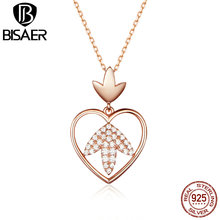 BISAER 925 Sterling Silver Rose Gold Color Laurel Leaf Pendant Necklace for Women Gifts Luxury Jewelry Argent Bijoux GXN313 bisaer authentic 925 sterling silver gold color mosaic red cz heart pendant necklace for women valentine s gifts jewelry gan014