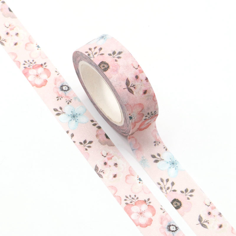 1pc Spring Pink Flower Flash Film Valentine Washi Tape Kawaii Scrapbooking Tools Masking Tape Photo Album Diy Decorative Tape