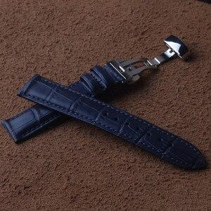 Image 3 - 15 millimetri 16 millimetri 17 millimetri 18 millimetri 19 millimetri 20 millimetri 21 millimetri 22 millimetri 23 millimetri NEW Mens di alta qualità Del Cuoio Genuino Blu Croco Grano Watch Band Cinturini fold chiusura
