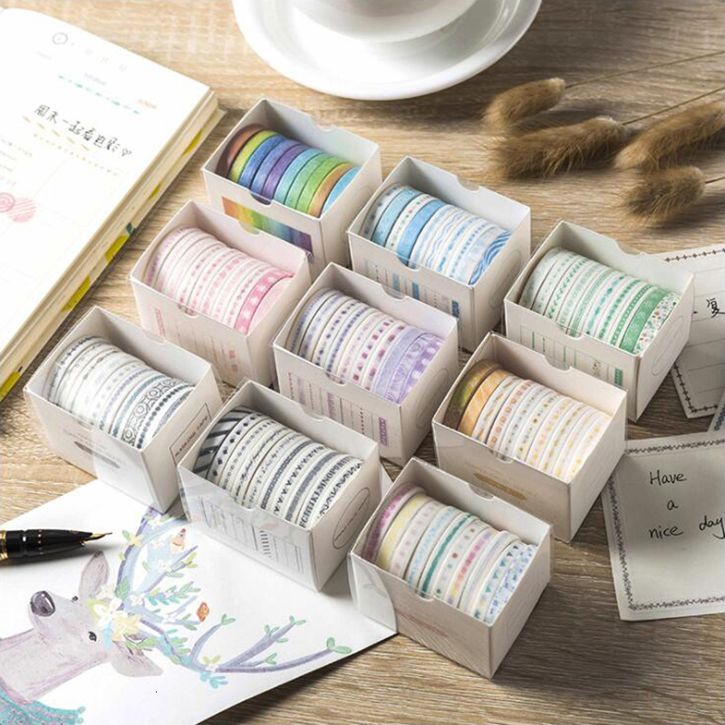 Very Fine Color Suit Washi Masking Tape Sticky Decorative Paper Tape Set Decoration Office Stationery Scrapbook 10PCS