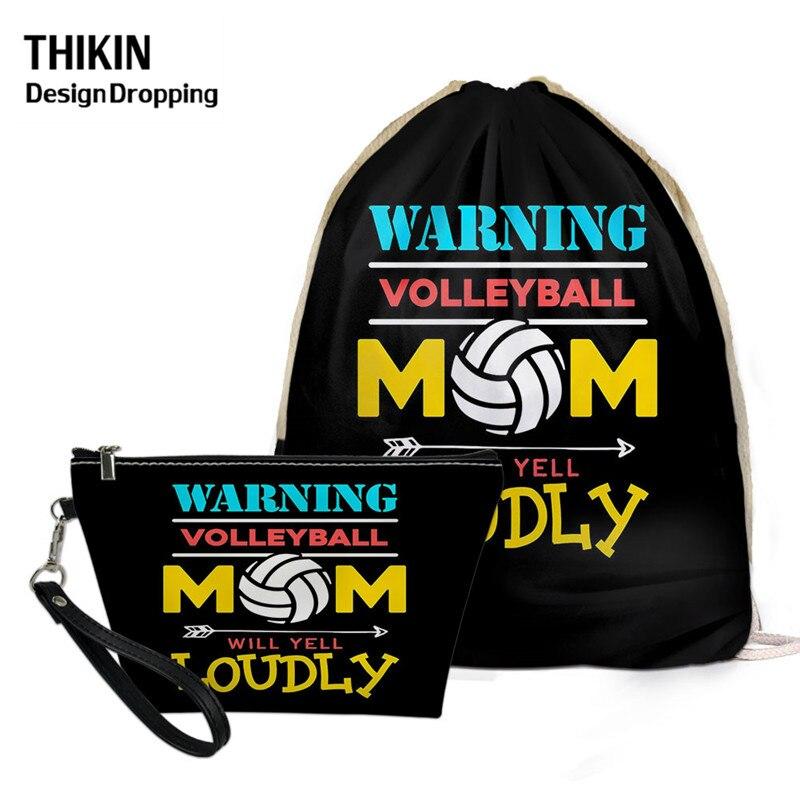 THIKIN Causal Volleyball / Basketball Mom Printed 2pcs/sets Women Summer Black Drawstring Backpack PU Comestic Case Custom Logo