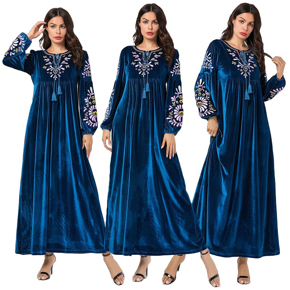 Velours Abaya Robe femmes musulmanes à manches longues broderie caftan Jilbab Robe Robe o-cou islamique vêtements automne hiver 2019 Robe
