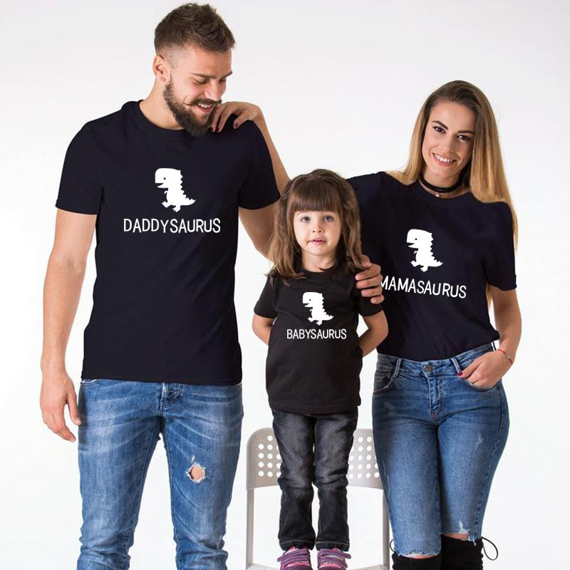 Daddy Mommy Baby Dinosaur Family Look T Shirt For Mother Daughter Father Son Matching Clothes Funny Papa Mama Girl Boy Fashion