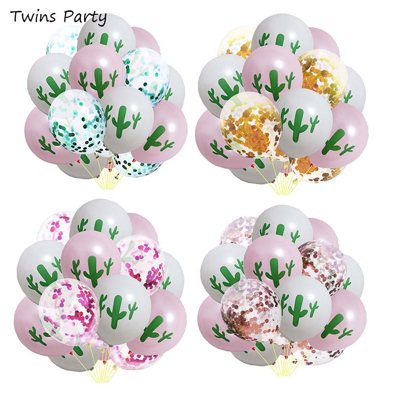 Twins Party 15Pcs Cactus Latex Balloons Mexican Decoration Taco Hawaii Tropical
