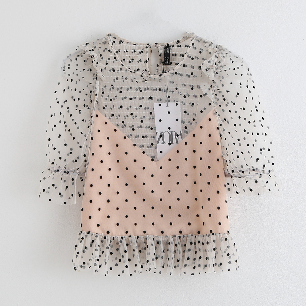 Summer 2019 New Casual Collar Seven-Sleeve Laminated Decorative Wave-dot Mesh Top Shirt