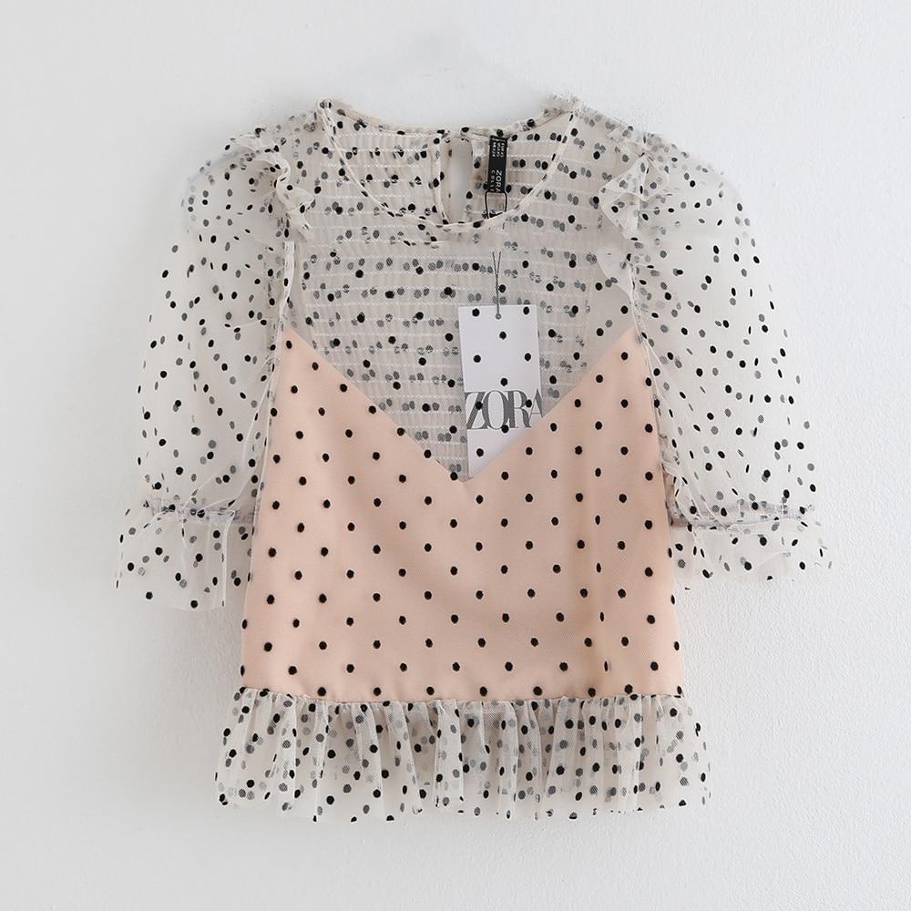 Summer 2019 New Casual Collar Seven-Sleeve Laminated Decorative Wave-dot Mesh Top Shirt