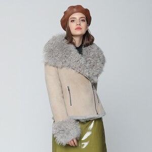 Image 2 - OFTBUY 2020 Winter Jacke Frauen Echte Doppel konfrontiert Pelzmantel Natürliche Mongolei Schafe Pelz Parka Biker Streetwear Vintage Mode
