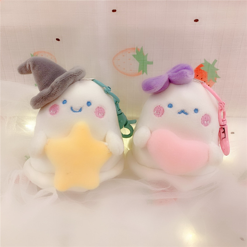 10CM Kawaii Cartoon Ghost Small Pendant <font><b>Key</b></font> <font><b>Chain</b></font> Stuffed <font><b>Plush</b></font> Pendant Creative Cute Specter <font><b>Plush</b></font> <font><b>Toys</b></font> Bag Pendant Kids Gifts image