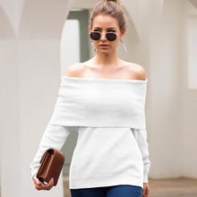 ALLNeon Off Shoulder Sweaters Knitted Winter Women Pullovers 2019 Female Jumpers Solid Long Sleeve Fitted Clothes Casual Fashion