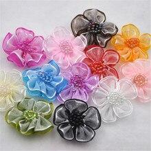 Upick 20 pcs Organza ribbon flowers bows W/beads Appliques Craft Wedding Dec A008