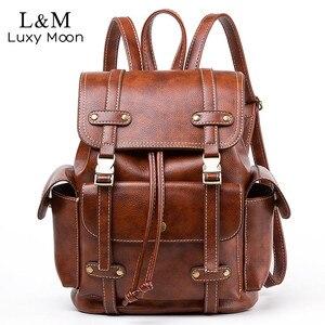 Image 1 - Vintage Leather Backpack Women Fashion Large Drawstring Rucksack School Travel Bag For Teenage Girls mochilas Black Brown XA480H