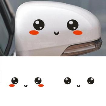 2Pcs Lovely Eye/Panda Cartoon Reflective Car Rearview Mirror Sticker Decal Decor image