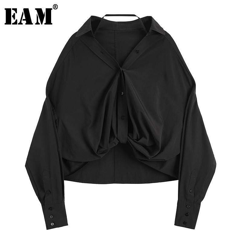 [EAM] Women Black Pleated Split Temperament Blouse New V-collar Long Sleeve Loose Fit Shirt Fashion Spring Autumn 2020 JL746