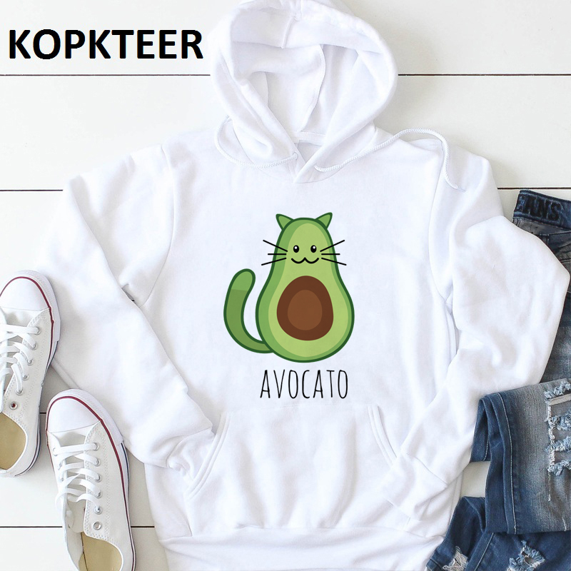 Winter Casual Fashion Women Hoodies Sweatshirts Long Sleeve Cute Avocado Cat Pullovers Loose Hooded Female Thick Clothes