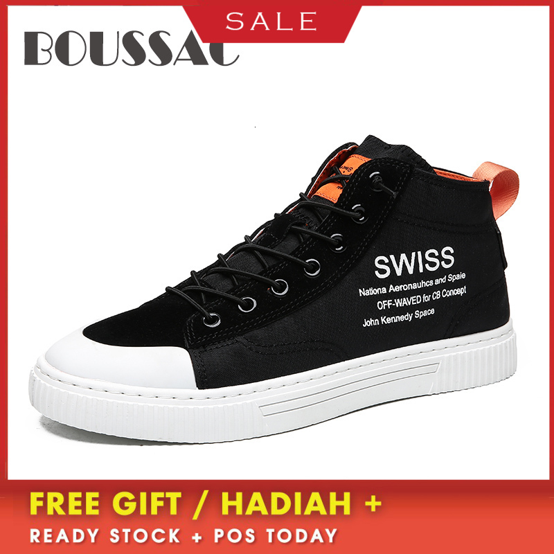 BOUSSAC hot Sale High Top Men Shoes New High-top Casual Lace-up Canvas 2019 Autumn Winter