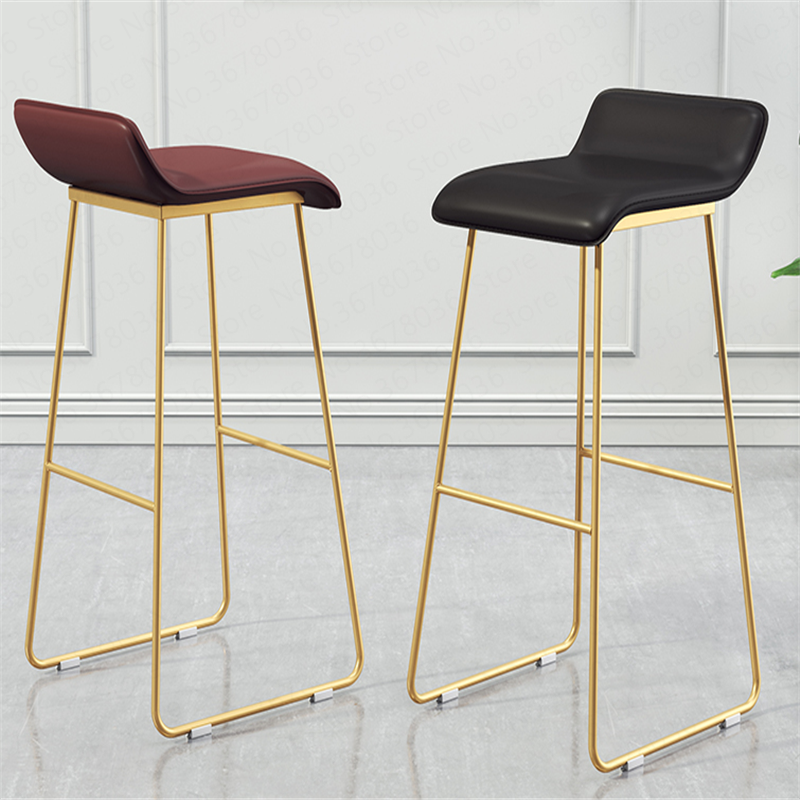 New Nordic Bar Stools Modern Simple Golden Leg Cafe Lounge Stool Wrought Iron Gold High Chair Padded Bar Chairs Stools