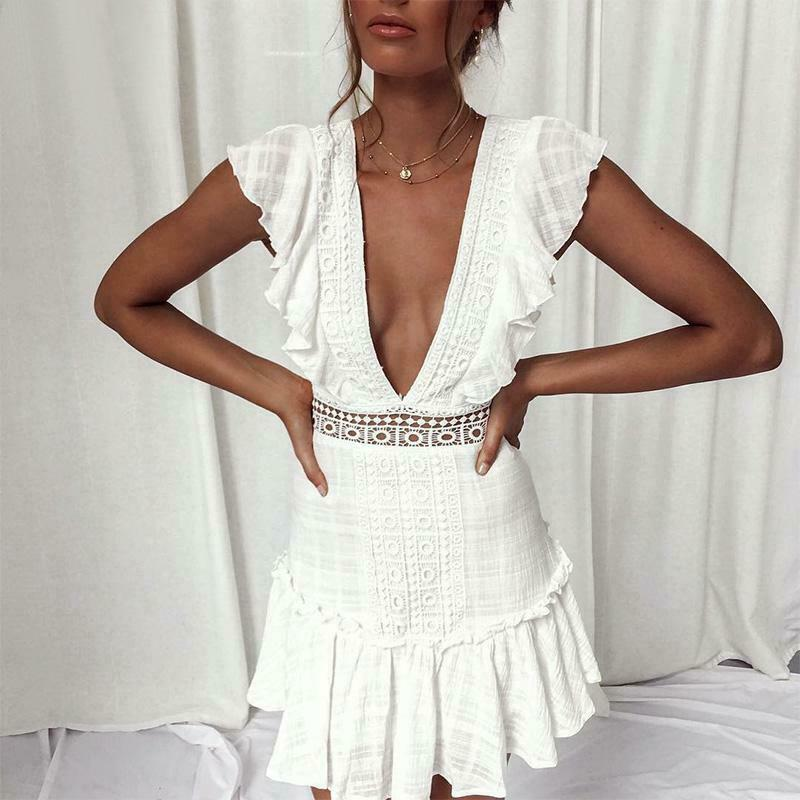 Solid White Ladies <font><b>Sexy</b></font> Summer <font><b>Dress</b></font> Fashion <font><b>Deep</b></font> <font><b>V</b></font> Neck Backless Evening Party Lace Mini <font><b>Dress</b></font> Ruffle Sleeveless Short <font><b>Dress</b></font> image