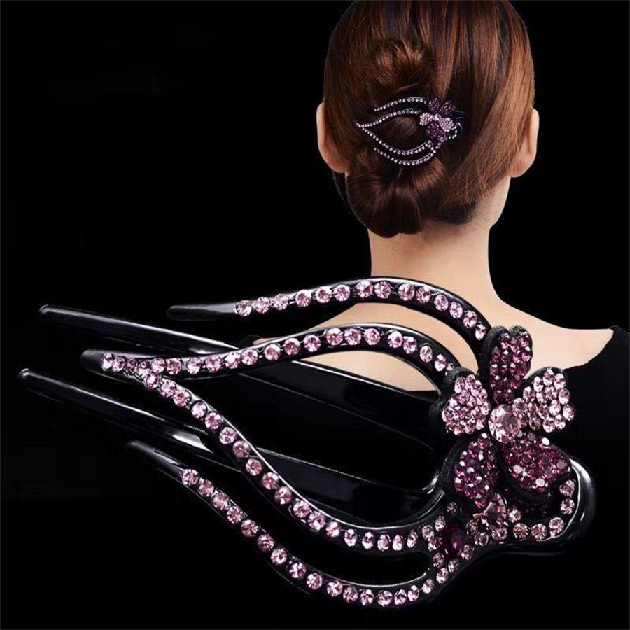 New Crystal Duckbill Hairpin Retro Flower Bow Claw Hairpin Headdress Fashion Shiny Horsetail Headdress Women's Hair Accessories Hair Jewelry  - AliExpress