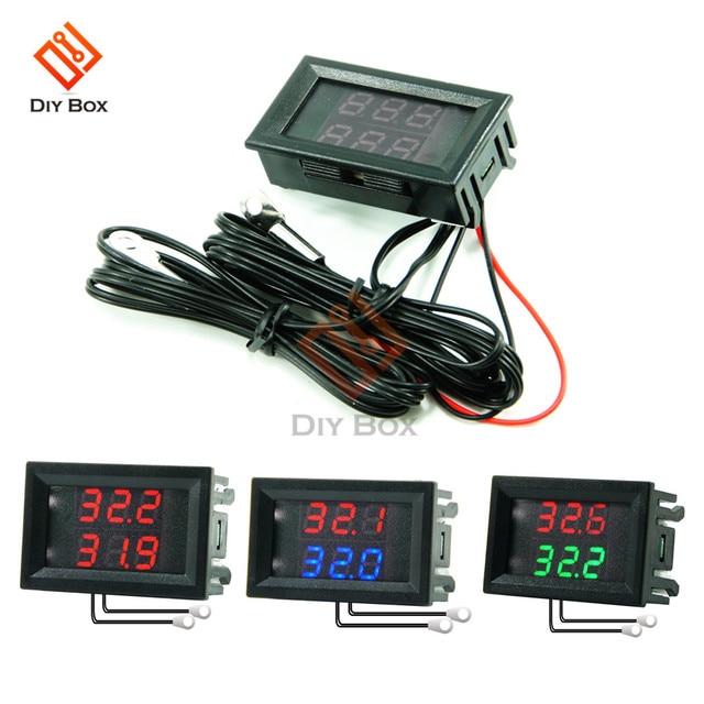 DC 4V-28V Mini Dual Display Digital Thermometer W/ Dual NTC Wasserdichte Metall Sonde Temperatur Sensor tester für Auto Zimmer Innen 1