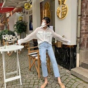 Image 5 - Женские джинсы, шикарные свободные Простые повседневные джинсы в Корейском стиле, Универсальные высококачественные трендовые джинсы с карманами для студентов, 2020