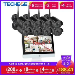 "Image 1 - Techege 8CH 1080P Wireless NVR CCTV Camera System 12"" LCD Screen Audio Record Outdoor IP Camera Security Surveillance Camera Kit"