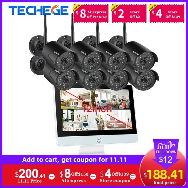 "Techege 8CH 1080P Wireless NVR CCTV Camera System 12"" LCD Screen Audio Record Outdoor IP Camera Security Surveillance Camera Kit"