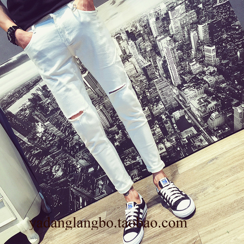Men's Ripped Hole 2020 Fashion Ankle Length Jeans White Slim Feet Pants Hong Kong Style Japanese Trendy Knee Ripped Pencil Jeans