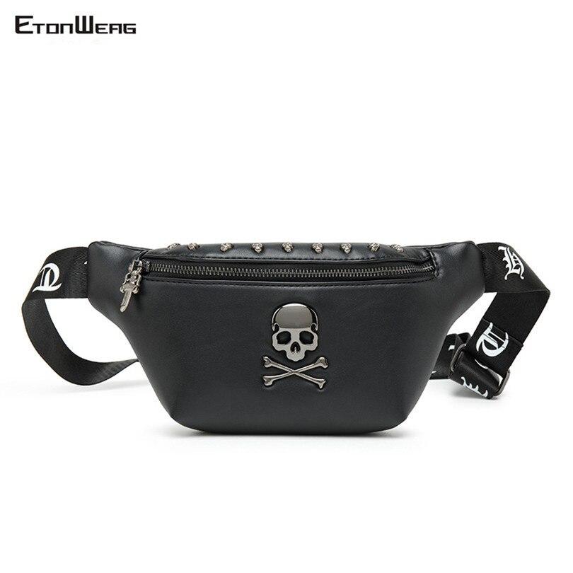 Women's Brand Rock Skull Chest Bag Rivet Belt Waist Bag Men Top PU Leather Black Waist Pack Small Bum Bags Female Messenger Bags