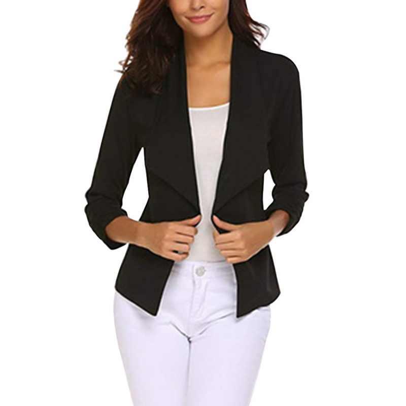 Puimentiua 2019 moda mujer Casual traje chaqueta de negocios chaqueta de manga larga Outwear señoras negro Rosa Slim Fit Blazer abrigo