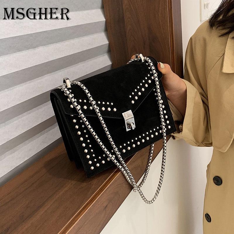 MSGHER Scrub Leather Small Shoulder Messenger Bags For Women 2020 Chain Rivet Lock Crossbody Bag Female Travel Mini Bags