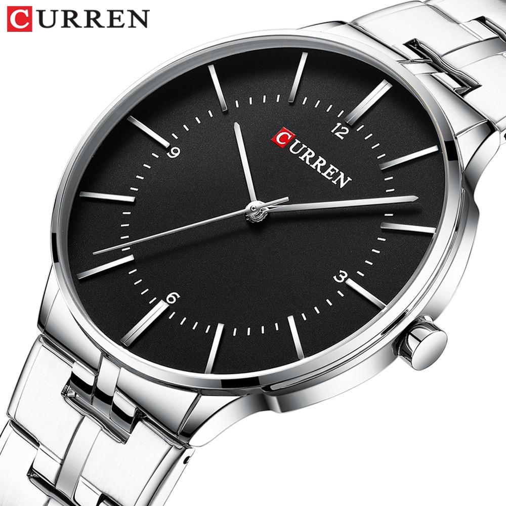 CURREN Black Business Mens Quartz Wristwatch Waterproof Luxury Stainless Steel Top Brand Calendar Large Dial Clock