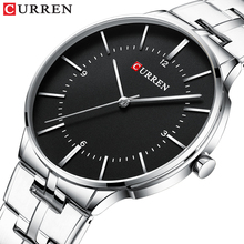 лучшая цена CURREN Black Business Mens Quartz Wristwatch Waterproof Luxury Stainless Steel Top Brand Calendar Large Dial Clock