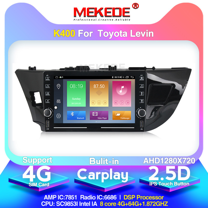MEKEDE K400 For Toyota Corolla 2013-2017 Car Radio Multimedia Video Player Navigation GPS Android 10.0 4g sim card