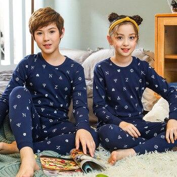 الفتيان الفتيات ملابس خاصة الشتاء القطن منامة مجموعات الأطفال Homewear لصبي البيجامة الاطفال نوم 9-19Y في سن المراهقة البيجامات الملابس