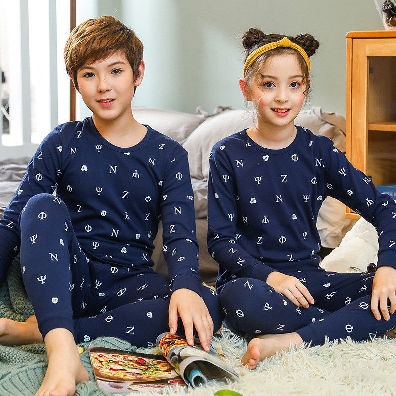 Boys Girls Sleepwear Winter Cotton   Pajamas     Sets   Children Homewear for Boy Pyjamas Kids Nightwear 9-19Y Teenage Pijamas Clothes
