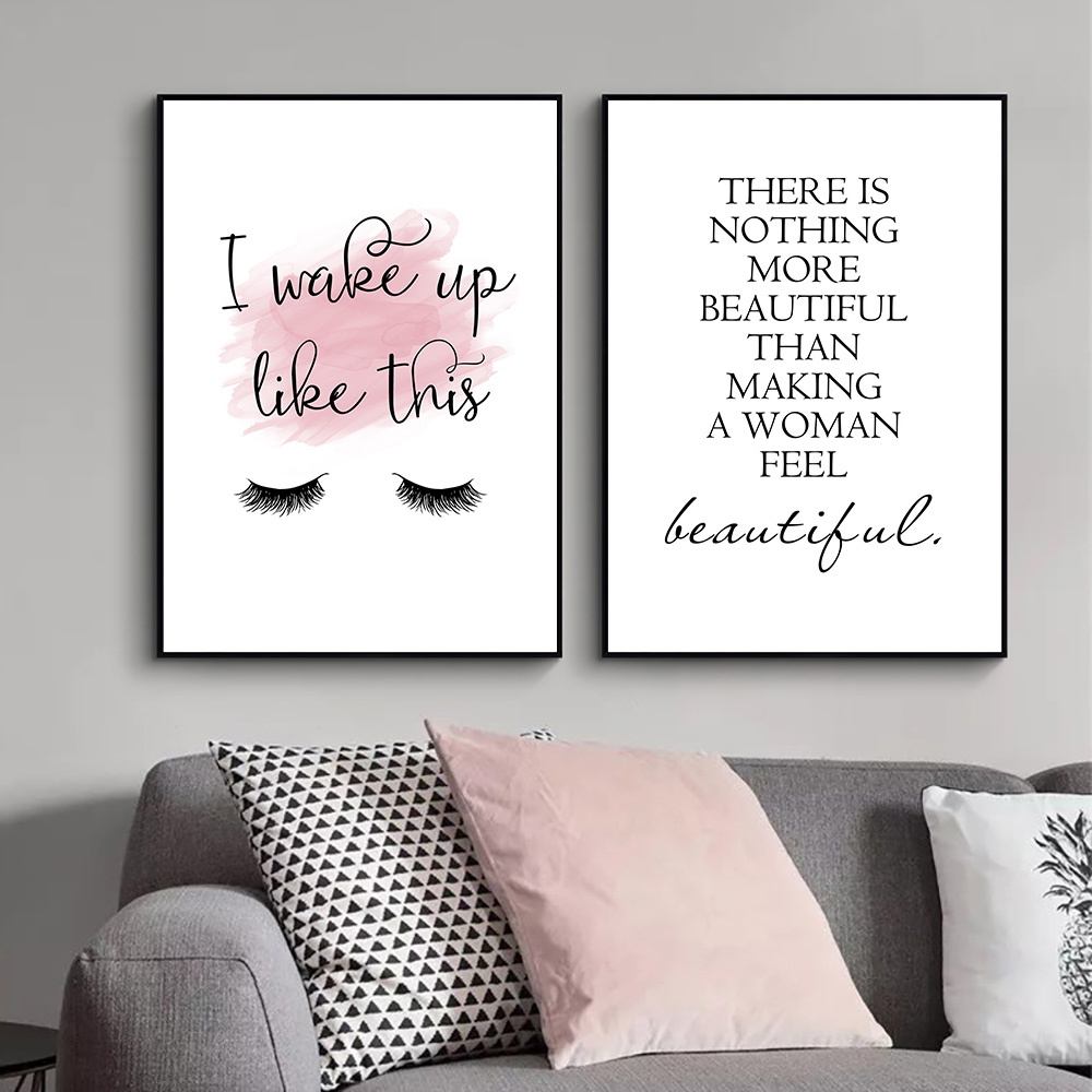 Make Up Poster Print Quotes Canvas Painting Lash Wall Art Eyelash Posters And Prints Abstract Wall Pictures For Girl Room Decor